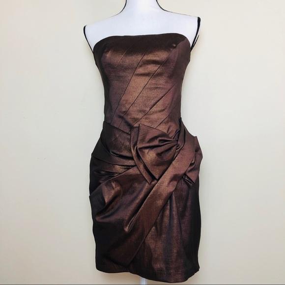 Jessica McClintock Dresses & Skirts - Jessica McClintock Bronze Bow Strapless Dress 10